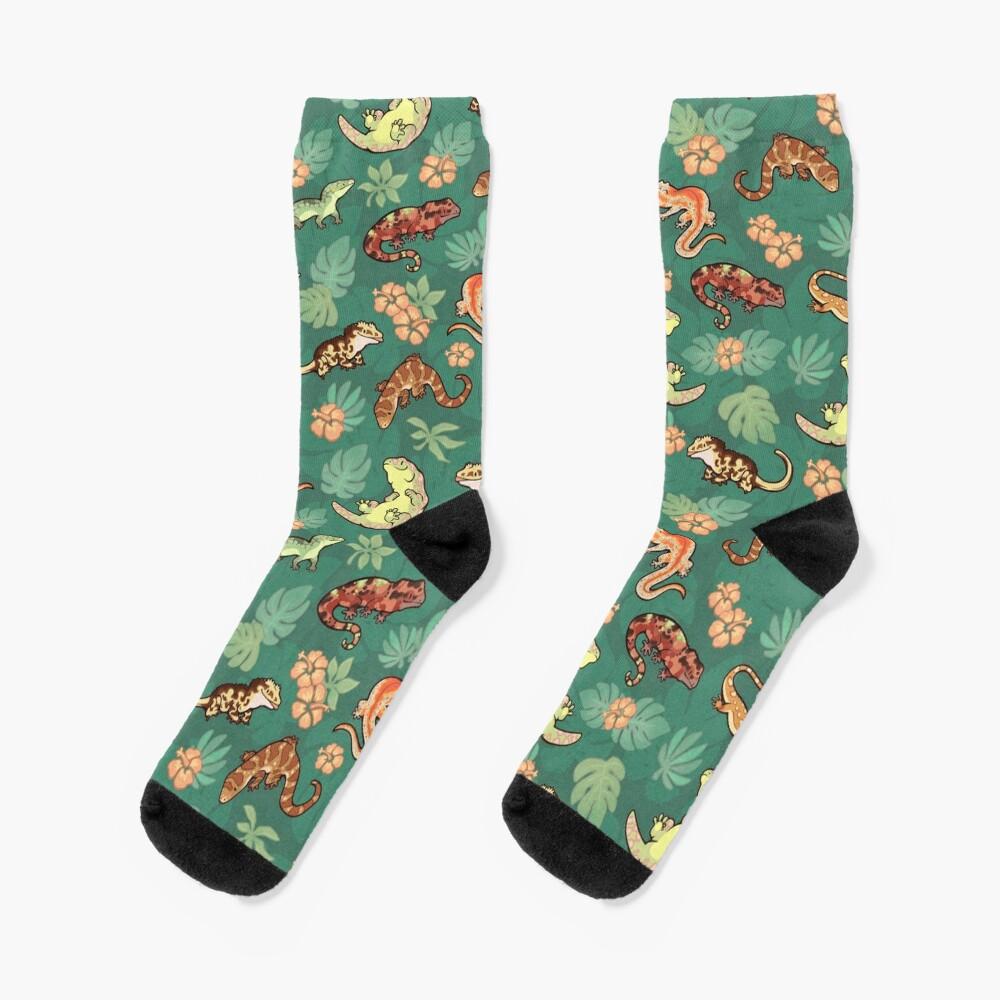 Gecko family in green Socks