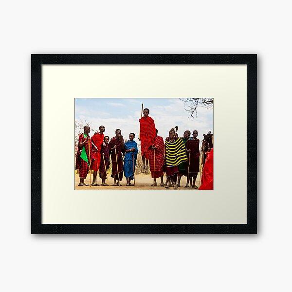 Maasai Jumping Dance Framed Art Print