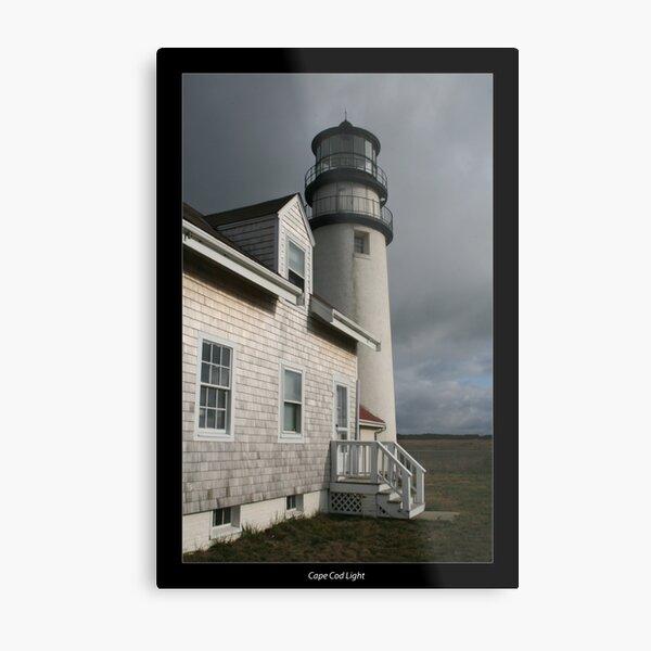 Cape Cod Light with  border Metal Print