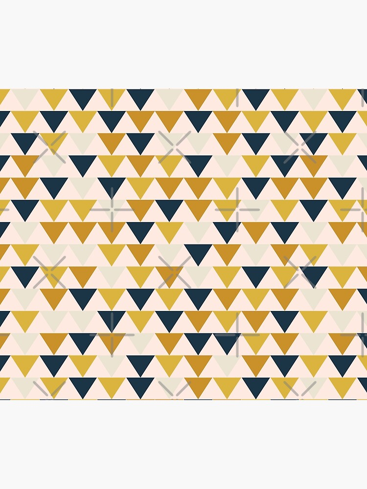 Arrow Pattern in Mustard Yellows, Navy Blue, and Blush Tones. Minimalist Geometric by kierkegaard