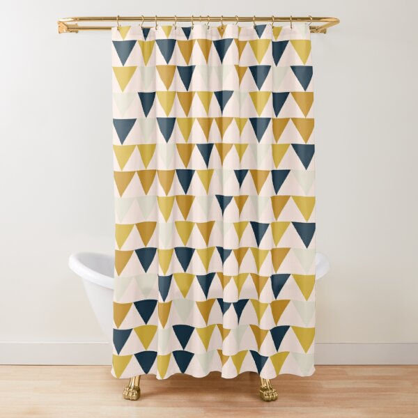 Arrow Pattern in Mustard Yellows, Navy Blue, and Blush Tones. Minimalist Geometric Shower Curtain