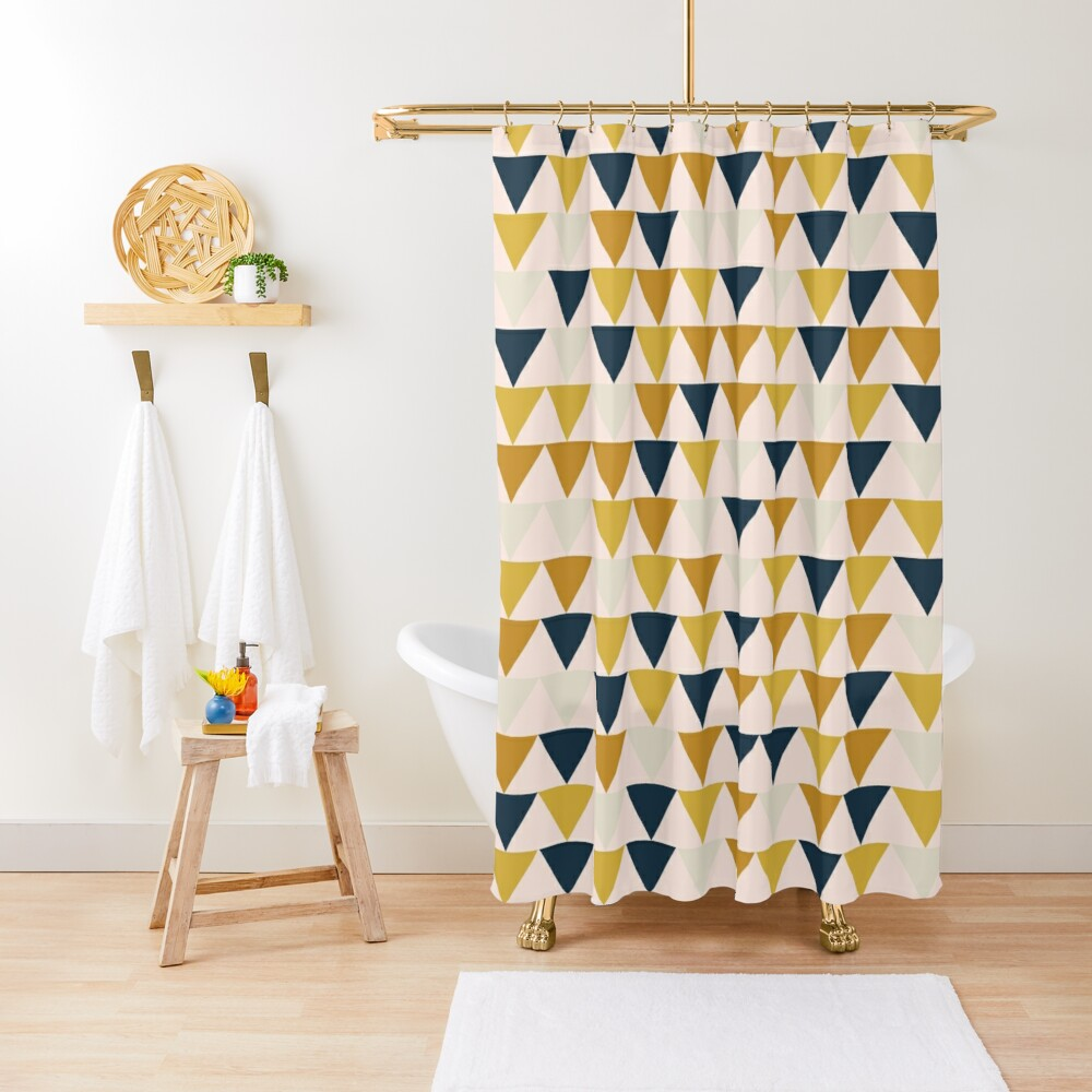 Arrow Pattern in Mustard Yellows, Navy Blue, and Blush Tones. Minimalist Geometric Shower Curtain