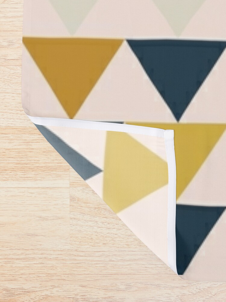 Alternate view of Arrow Pattern in Mustard Yellows, Navy Blue, and Blush Tones. Minimalist Geometric Shower Curtain
