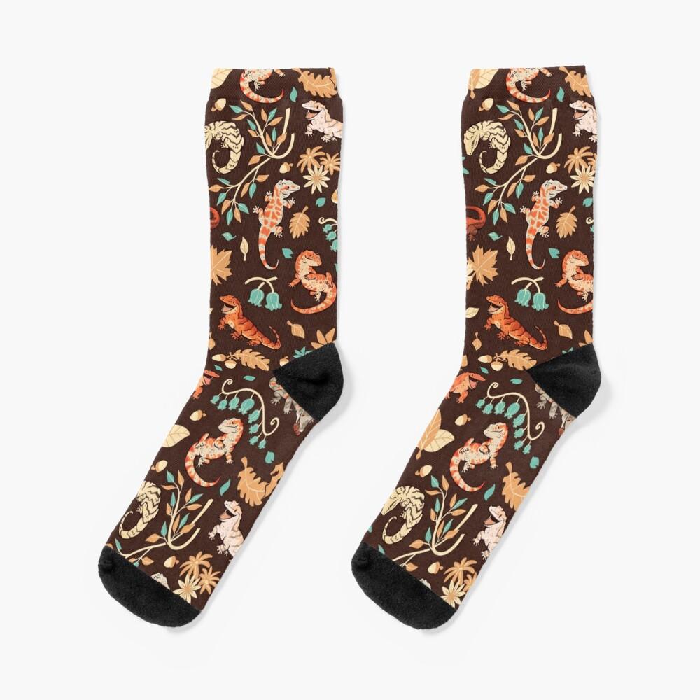 Autumn geckos in dark brown Socks