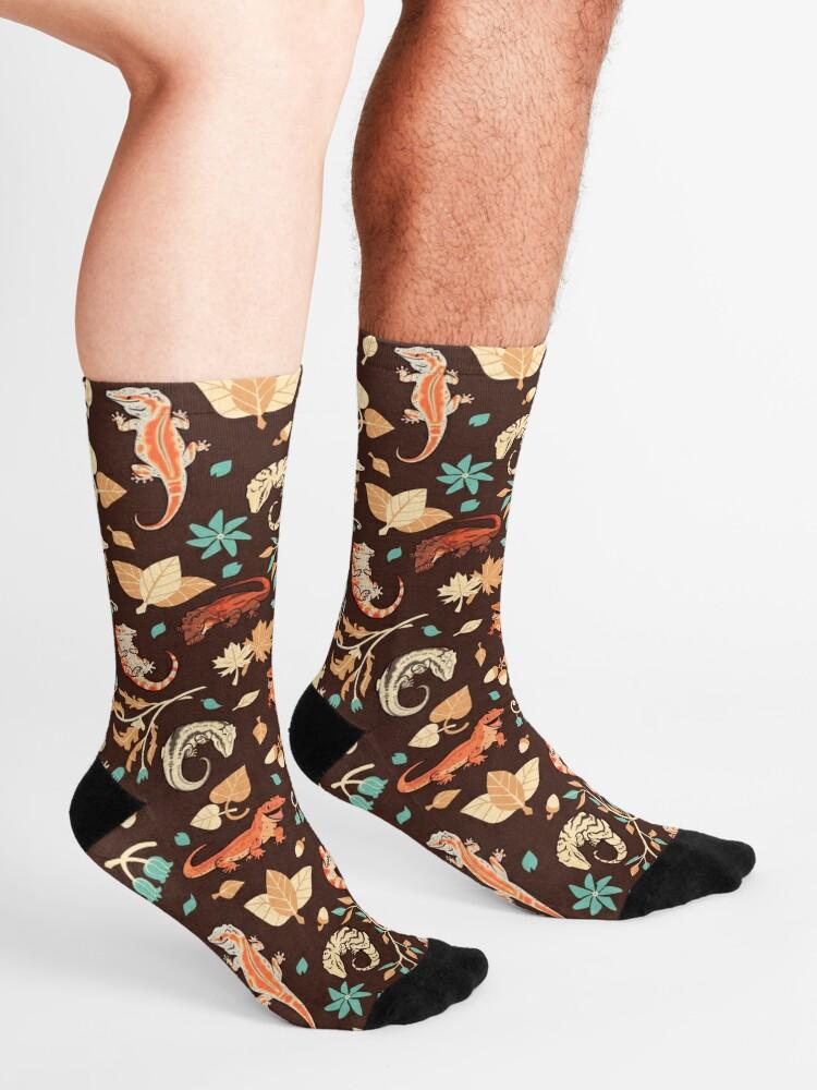 Alternate view of Autumn geckos in dark brown Socks