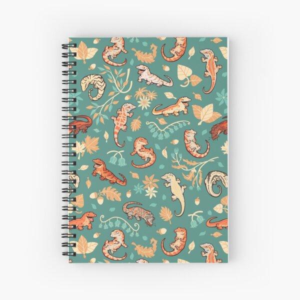 Autumn geckos in green Spiral Notebook