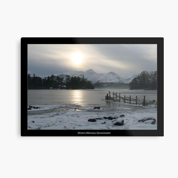 Winter's Afternoon, Derwentwater with border Metal Print
