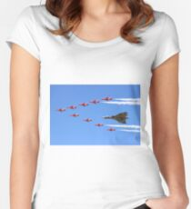 Final Vulcan flight with the Red Arrows 8 Women's Fitted Scoop T-Shirt