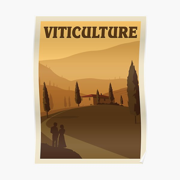 Viticulture Board Game- Minimalist Travel Poster Style - Gaming Art Poster