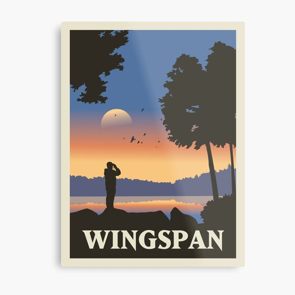 Wingspan Board Game - Style d'affiche de voyage minimaliste - Gaming Art Impression métallique