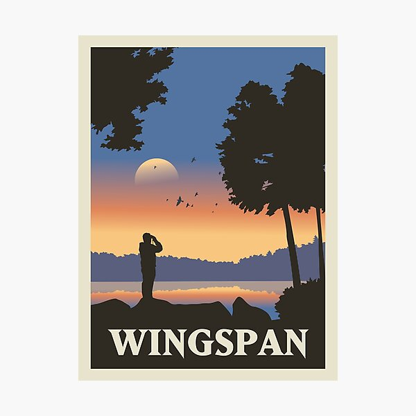 Wingspan Board Game- Minimalist Travel Poster Style - Gaming Art Photographic Print