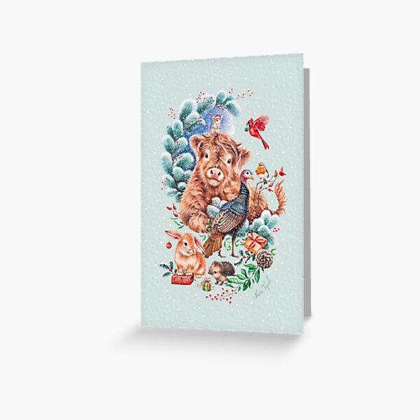 Happy Xmas animals by Maria Tiqwah Greeting Card