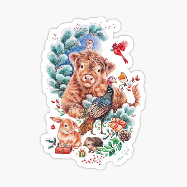 Happy Xmas animals by Maria Tiqwah Sticker
