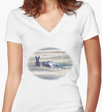 Resting Kangaroo Women's Fitted V-Neck T-Shirt