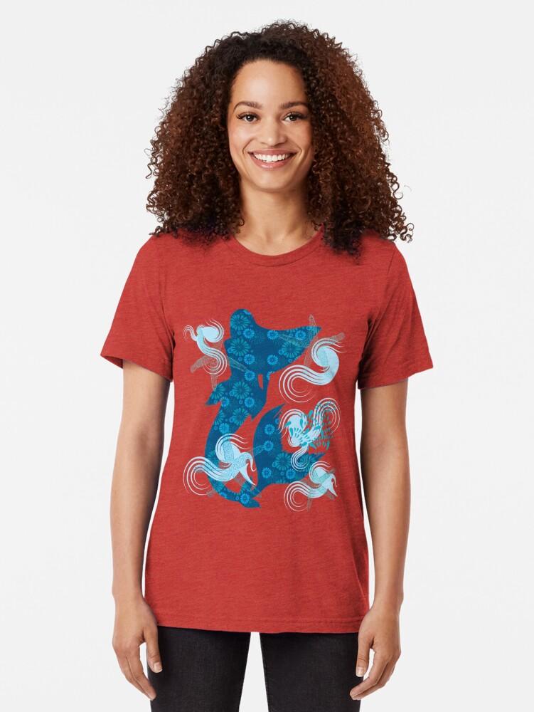 Alternate view of Mermaid Starfish Underwater Tri-blend T-Shirt