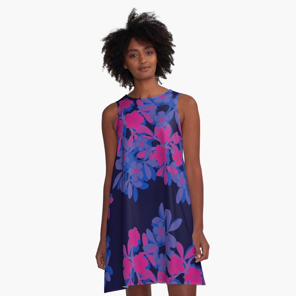 Bi Pride Five-Petal Flower Assortment A-Line Dress