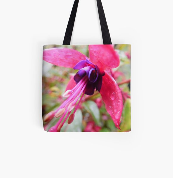 Fuschia Flower w/ Water Droplets 240 All Over Print Tote Bag