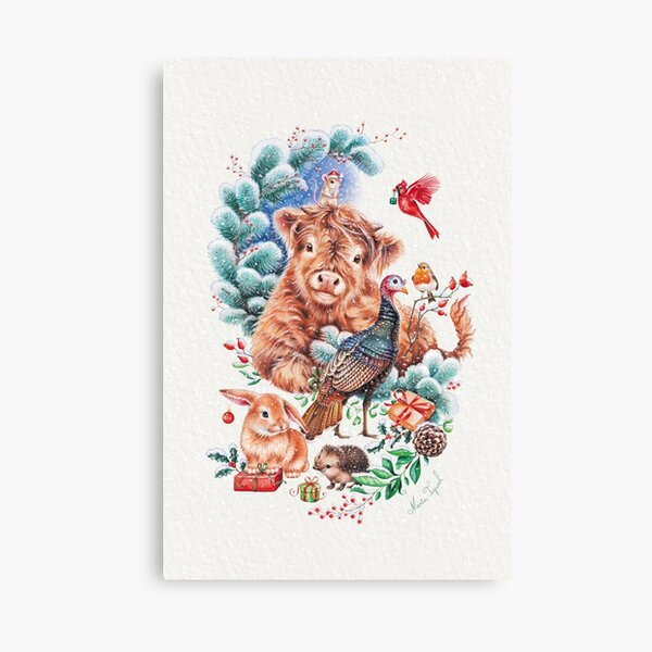 Christmas animals by Maria Canvas Print