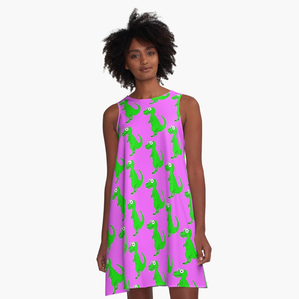 Cute T-Rex - on pink A-Line Dress