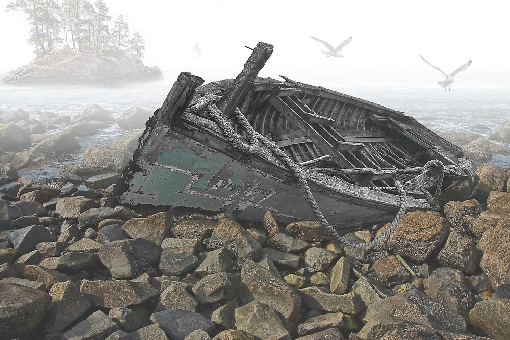 Beached Boat Composite by Randall Nyhof