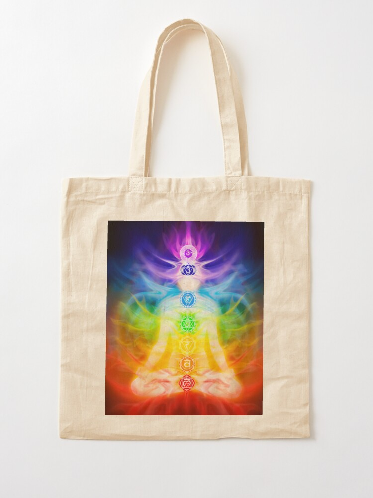 Alternate view of Chakras and energy flow on human body art photo print Tote Bag