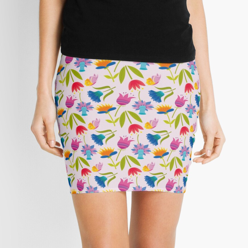 Decorative Tulips Pattern Mini Skirt