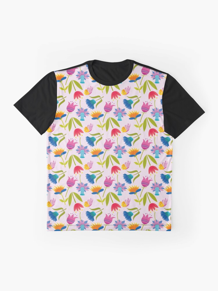 Alternate view of Decorative Tulips Pattern Graphic T-Shirt