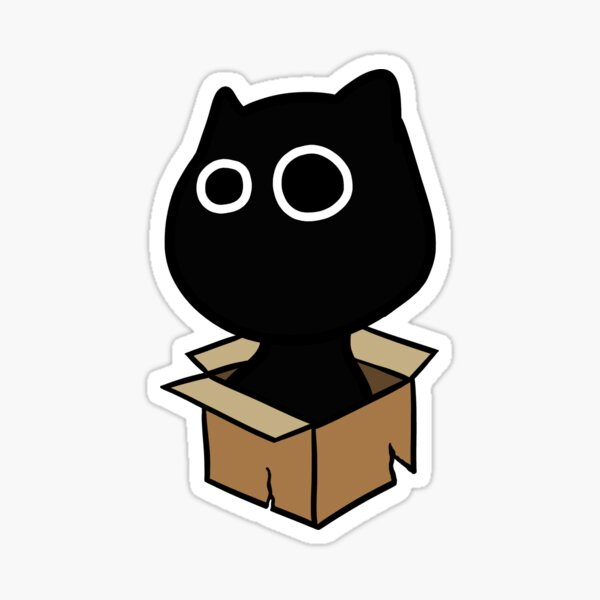 The cat and the box without text. Sticker