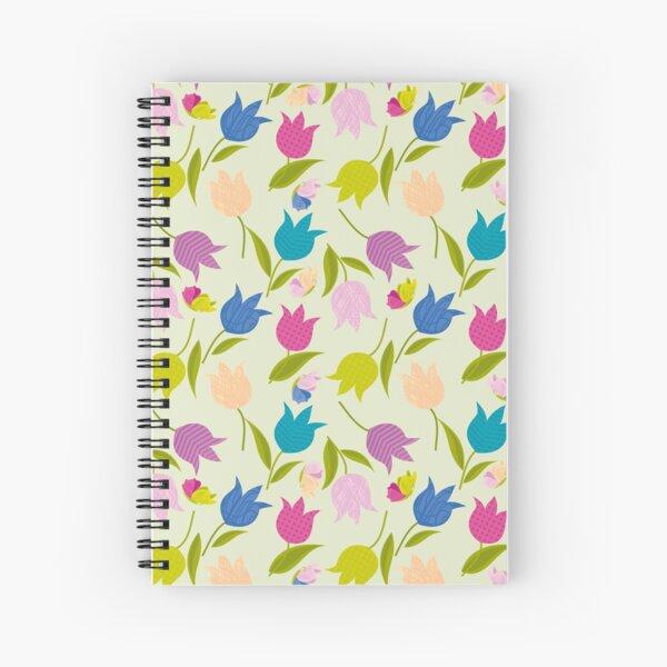 Decorative Tulips Pattern Spiral Notebook