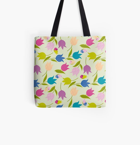 Decorative Tulips Pattern All Over Print Tote Bag