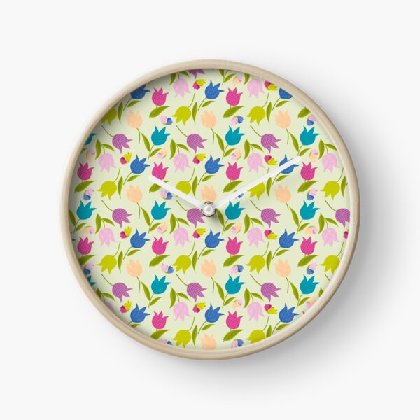Decorative Tulips Pattern Clock