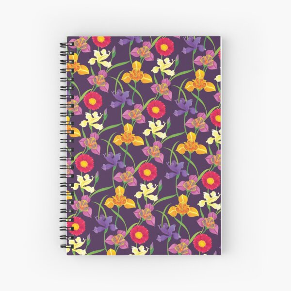 Tigridia, Iris, Daisy Pattern Spiral Notebook