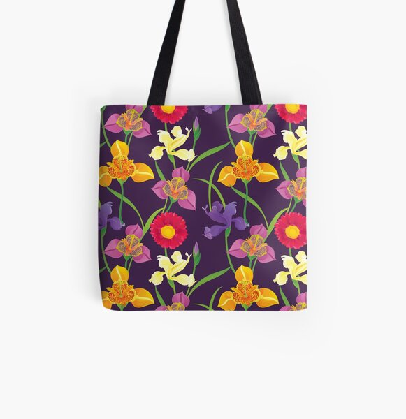 Tigridia, Iris, Daisy Pattern All Over Print Tote Bag