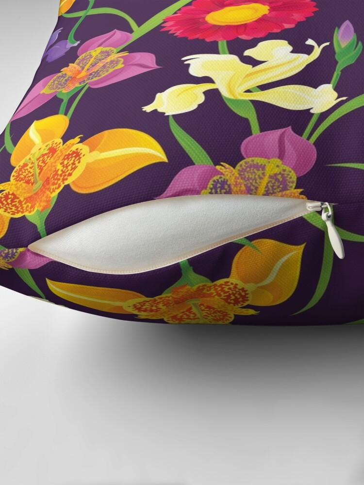 Alternate view of Tigridia, Iris, Daisy Pattern Throw Pillow
