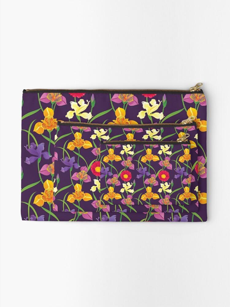 Alternate view of Tigridia, Iris, Daisy Pattern Zipper Pouch