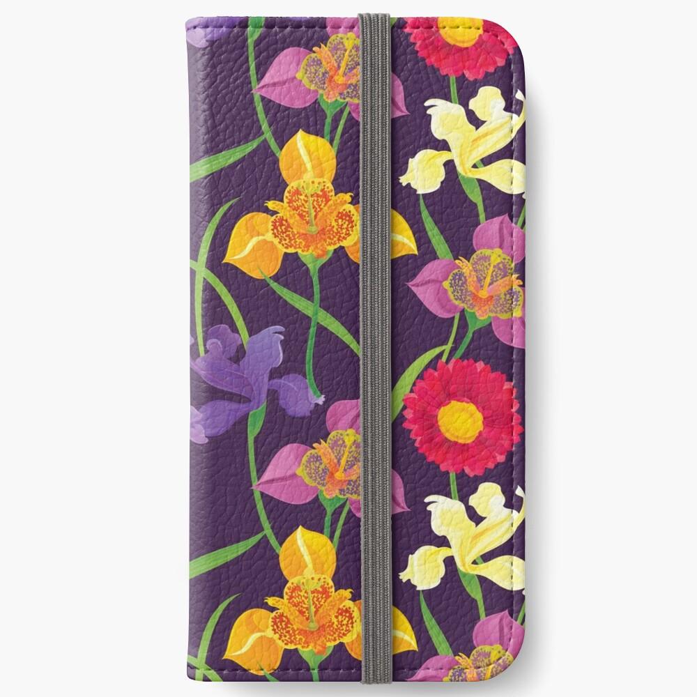 Tigridia, Iris, Daisy Pattern iPhone Wallet