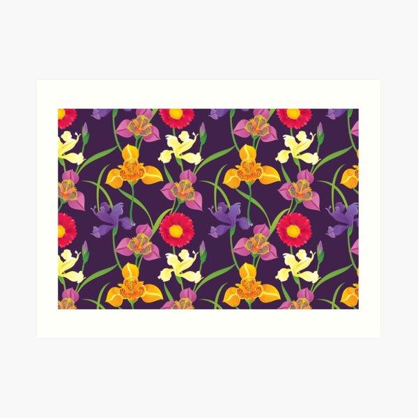 Tigridia, Iris, Daisy Pattern Art Print