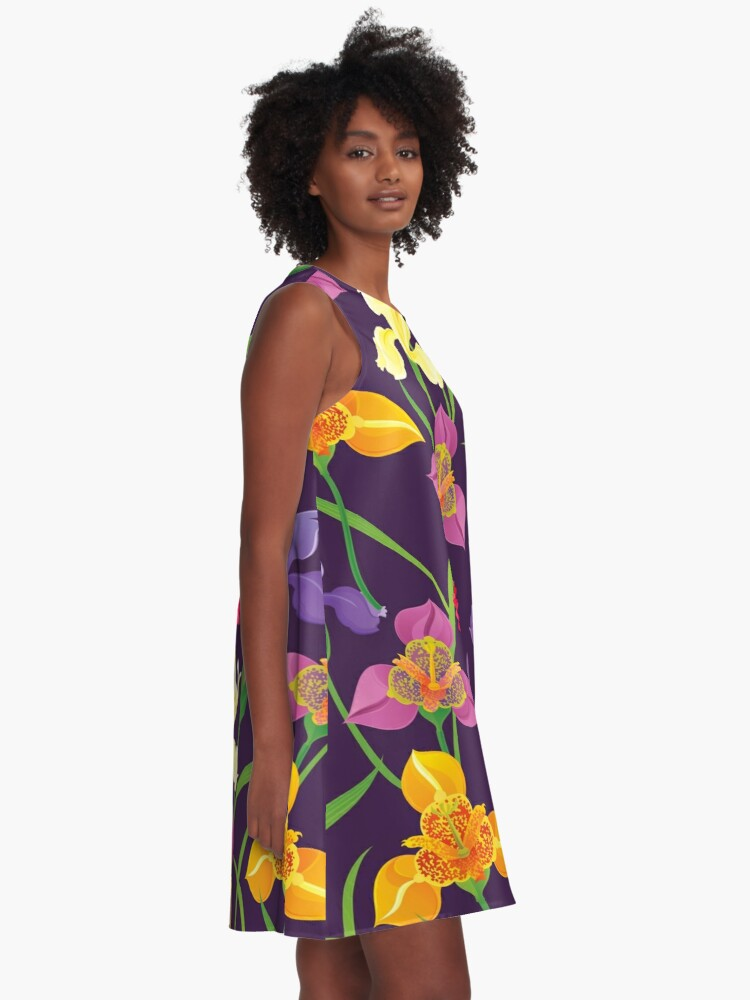 Alternate view of Tigridia, Iris, Daisy Pattern A-Line Dress