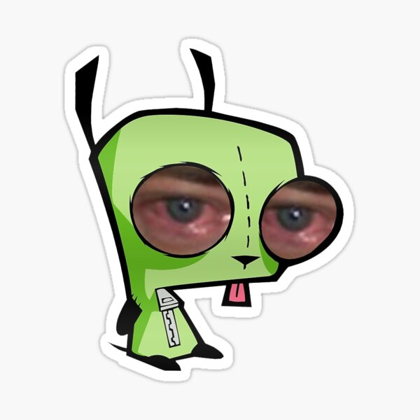 Invader Zim Gir with Brendan Fraser crying eyes Sticker