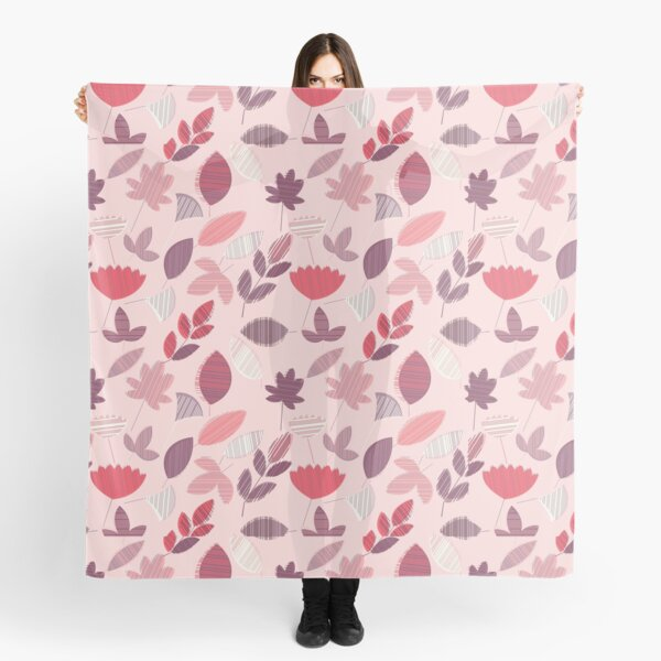 Abstract Pink Florar Pattern  Scarf