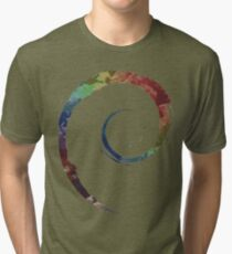 Colorful Debian Tri-blend T-Shirt