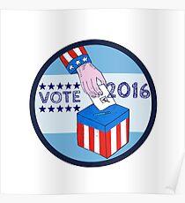 Vote 2016 Hand Ballot Box Circle Etching Poster