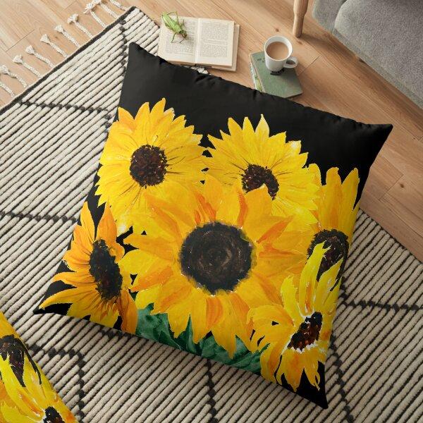 Painted sunflower bouquet Floor Pillow