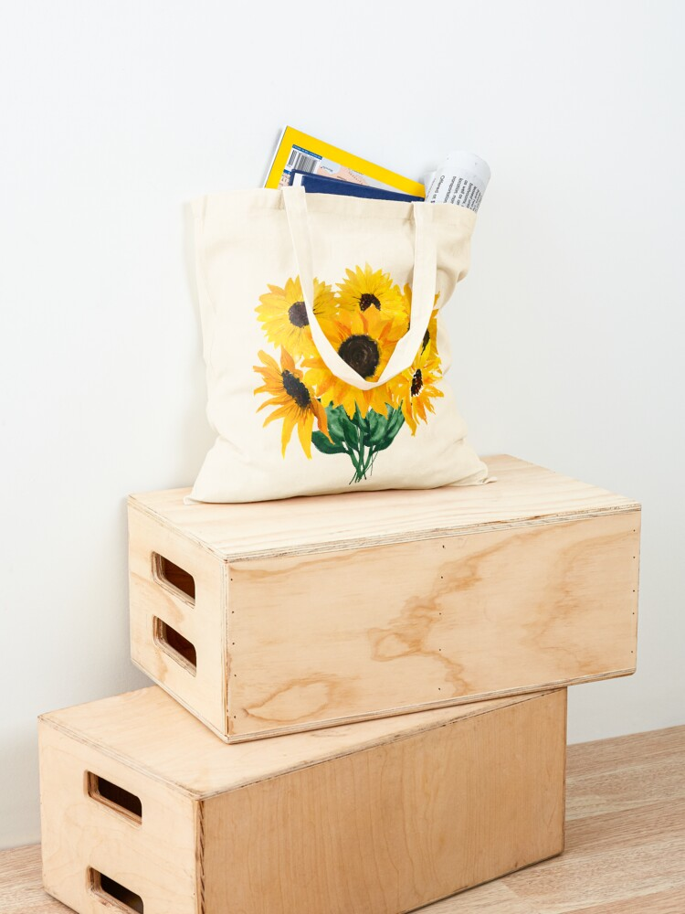 Alternate view of Painted sunflower bouquet Tote Bag