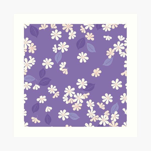 Sakura on purple Art Print