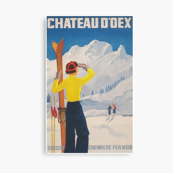 Chateau d'Oex Switzerland Vintage Ski Poster Canvas Print