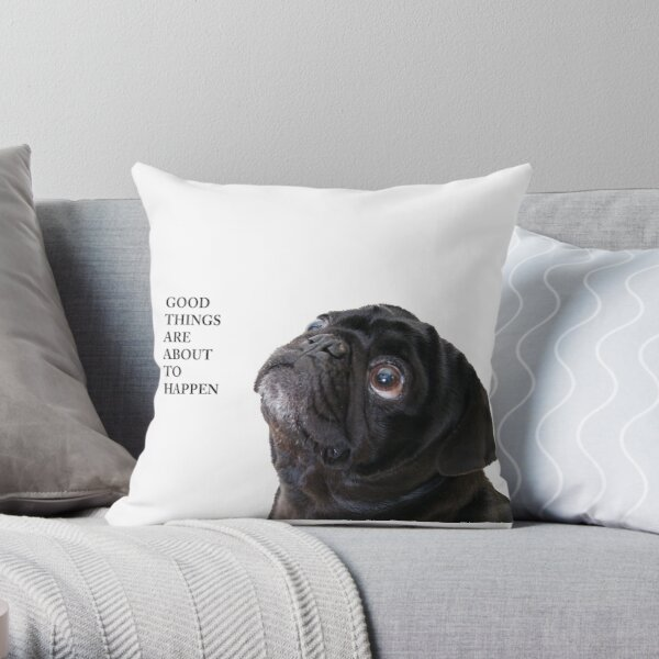Good things black pug Throw Pillow