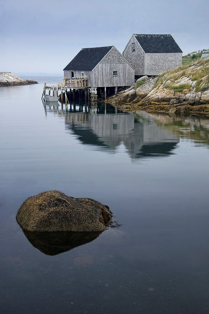 Peggys Cove Fishermans Wharf with Rock by Randall Nyhof