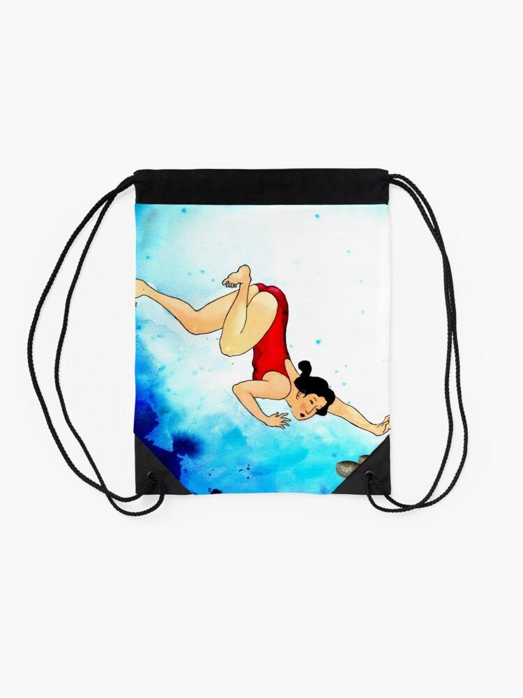 Alternate view of Mrs Hiroshige Diving At Julian Rocks Drawstring Bag