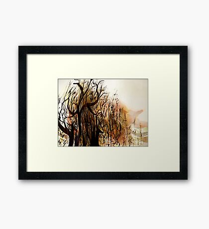 black tree wood.... vague dream Framed Print